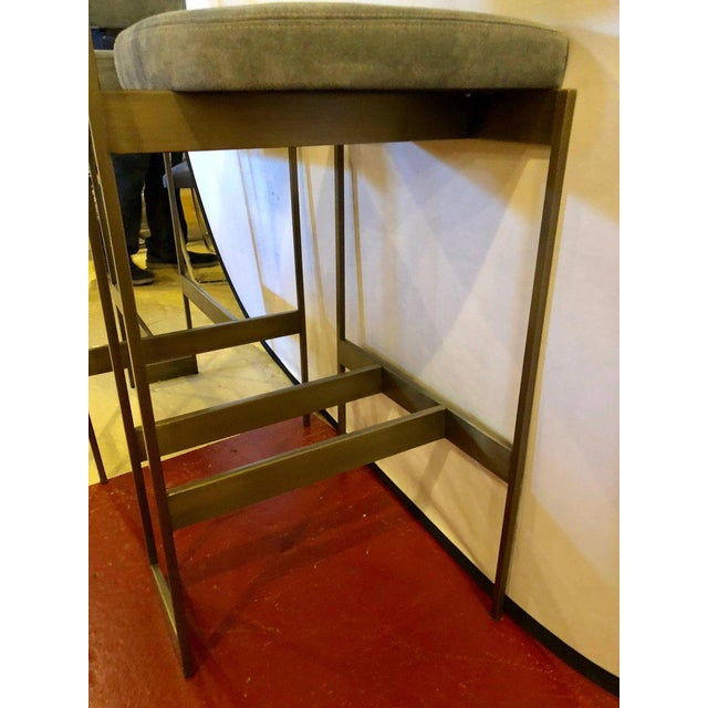 Fabric Set of Four Powell and Bonnell 'Alto' Suede Bar Stools For Sale - Image 7 of 14