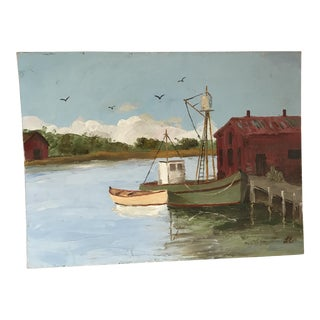 Mid-Century Boating Painting, 1972