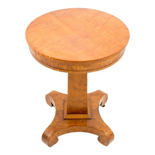 American Curly Maple Circular Top Pedestal Side Table For Sale