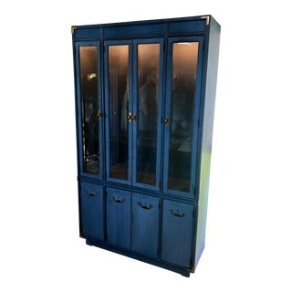 1970s Campaign Drexel Painted Cerulean Cabinet For Sale