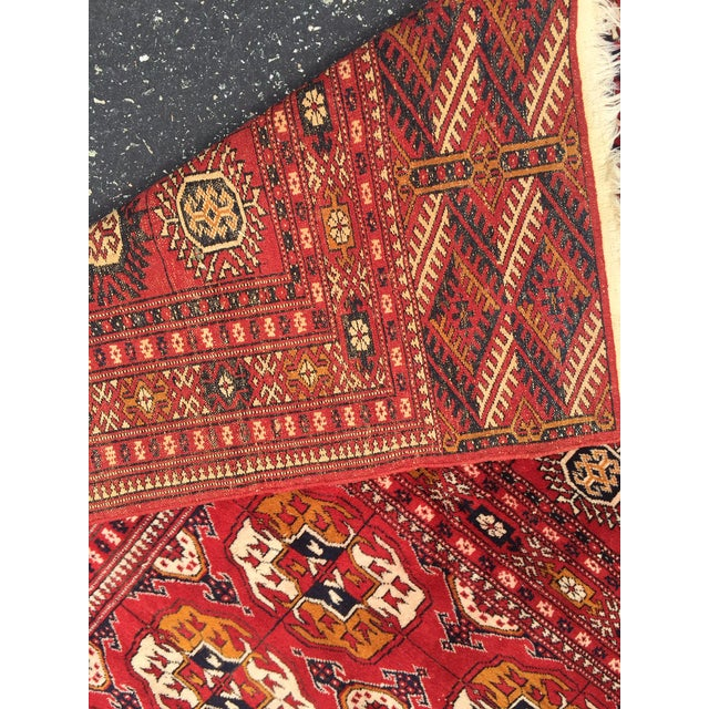 Orange Antique Tribal Turkoman Bohkara Hand Knotted Wool Area Rug - 9′5″ × 12′8″ For Sale - Image 8 of 10