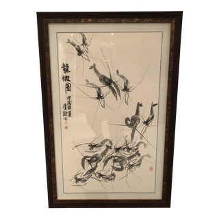 Asian Hand Painted Lobster Print For Sale