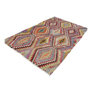"Vintage Turkish Kilim Geometric Rug-5'9'x9'9"" For Sale"