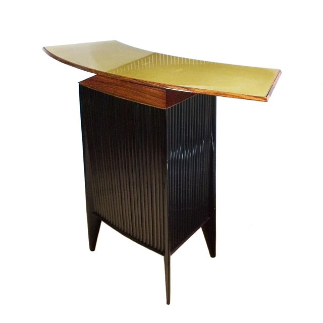 Black 1950s Bar Counter and Vitrine, Mahogany, Sycamore, Golden Glass, Italy For Sale - Image 8 of 13