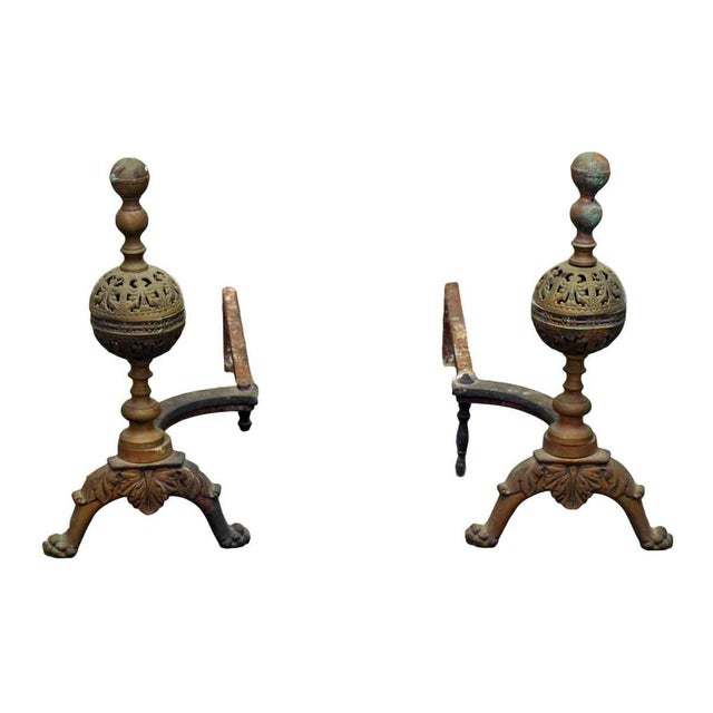 Gold Cast Bronze Andirons - A Pair For Sale - Image 8 of 8