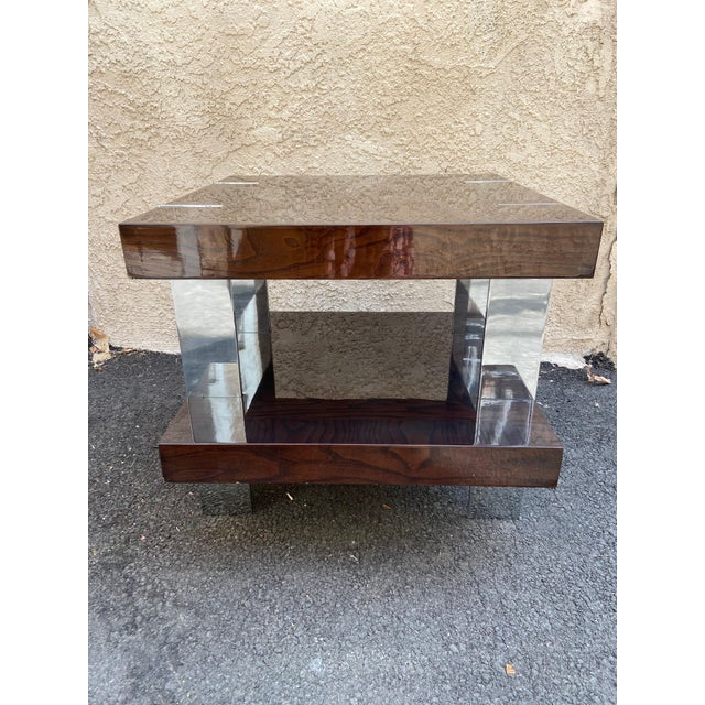 Contemporary Contemporary Two-Tier Wood Lacquer and Chrome Table For Sale - Image 3 of 10