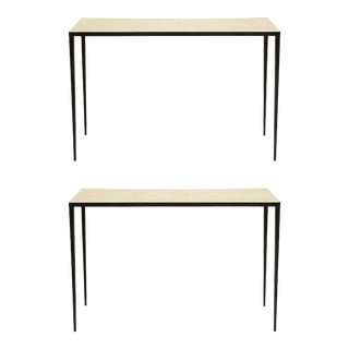 Bespoke Iron and Parchment Consoles in the Jean Michel Frank Manner - a Pair For Sale