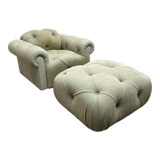 J. Robert Scott Suede Celedon Lounge Swivel Chair + Ottoman For Sale