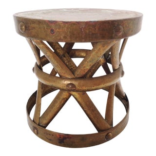 Vintage Hammered Brass Low Profile Accent Table Garden Stool Plant Stand For Sale