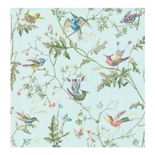 Cole & Son Hummingbirds Wallpaper Roll - Blue Multi-Colour For Sale