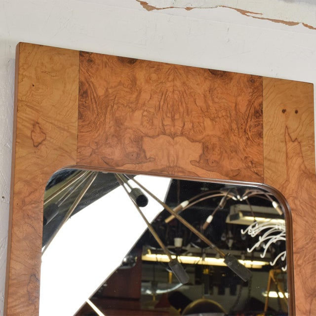 Mid-Century Modern Wall Mirror in Burl Wood For Sale - Image 9 of 11
