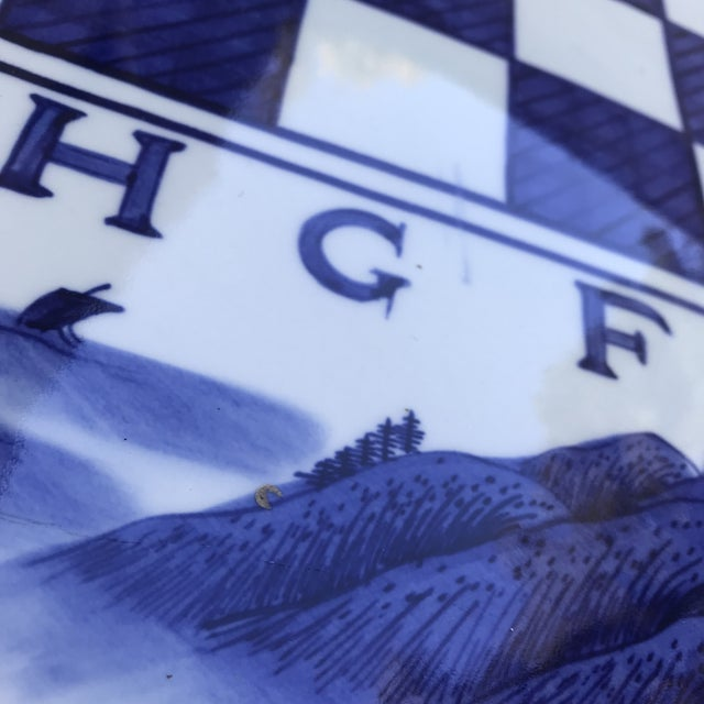 Blue & White Ceramic Game Table Set For Sale - Image 9 of 10