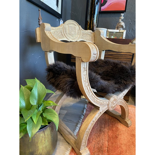 Mid 19th Century Carved Oak Throne Chair With Shearling Seat For Sale - Image 5 of 10