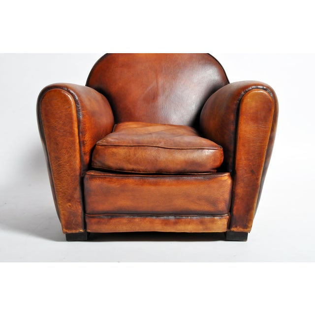 1960s Vintage French Brown Leather Armchairs - a Pair For Sale - Image 9 of 13