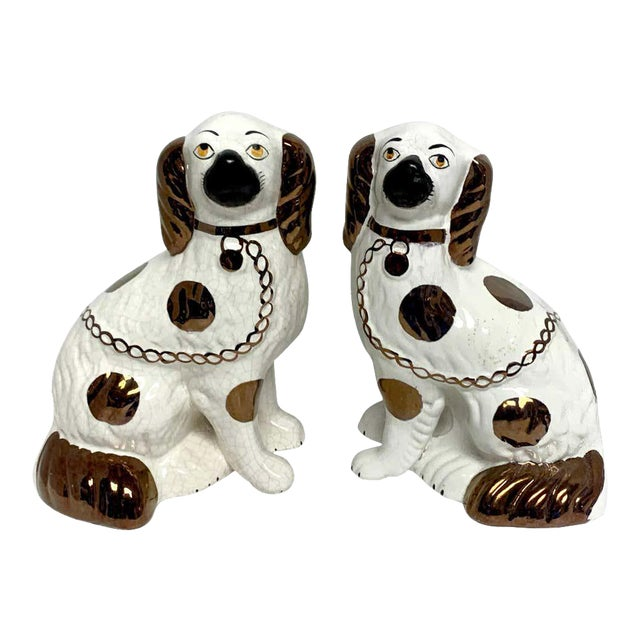 Wider Staffordshire Copper Luster Dogs With Separated Legs - a Pair For Sale