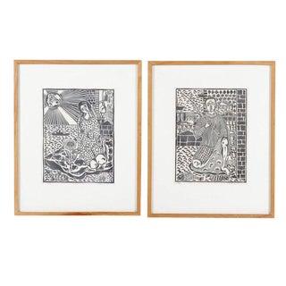 Giorgos Loannou Framed Linocut Prints - A Pair For Sale