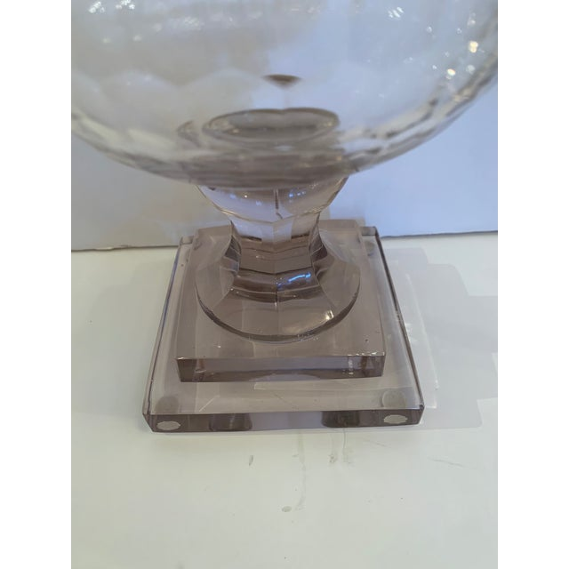 Cylindrical Cut Glass Hurricanes Candle Holders -A Pair For Sale - Image 4 of 10