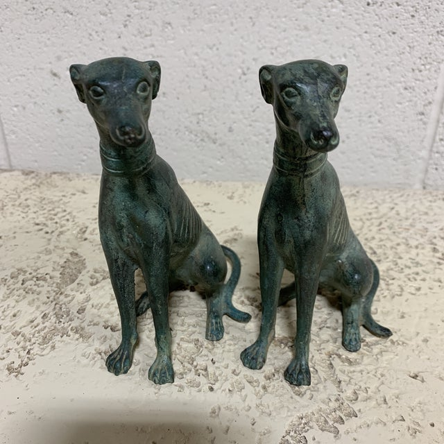 Verdigris Bronze Greyhound Bookends For Sale - Image 9 of 13