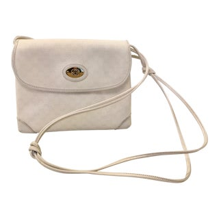 1980s Gucci White Canvas and Leather Logo Crossbody For Sale