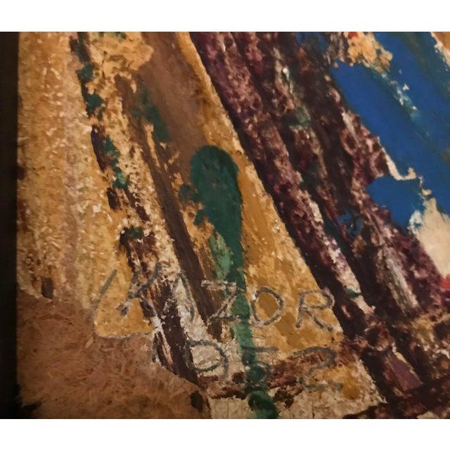 "Artist - Leonard Kazor Title - Abstract Figurative Signed - Lower left Year - 1952 Medium - Oil on board Dimensions- 10.5""..."
