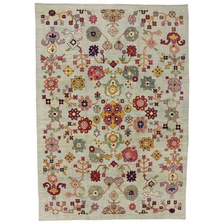 "Turkish Oushak Modern Contemporary Style Rug - 10' X 14'1"" For Sale"