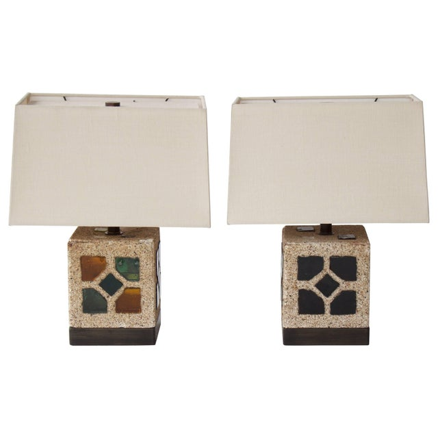French 1950s Cement and Colored Glass Table Lamps For Sale - Image 11 of 11