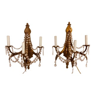 Louis XV Style Converted Gasolier Sconces a Pair For Sale