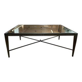 Custom Mirrored Top Black Metal English Garden Coffee Table For Sale
