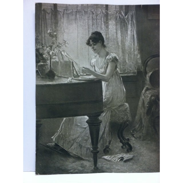 """Figurative Vintage Figurative Black & White Print """"The Old-Old Song"""" by Percy Moran For Sale - Image 3 of 6"""
