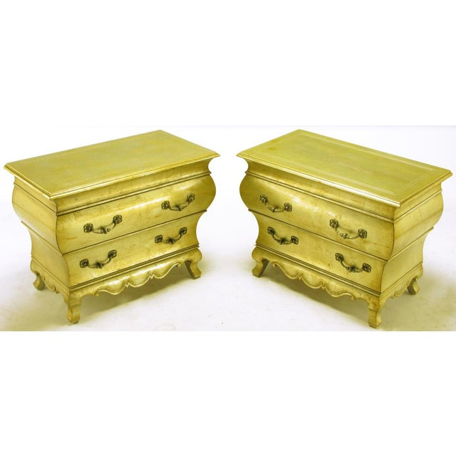 Pair Henredon Gold Toned Silver Leaf Bombe Two-Drawer Commodes - Image 2 of 10