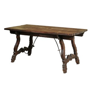 1950s Vintage Spanish Style Pine Table With Iron Stretcher