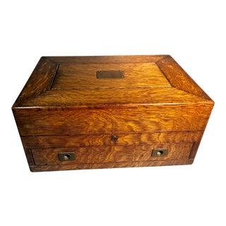 1920s Tiger Oak Satin Lined Arts & Crafts Era Flatware Chest for Silver For Sale