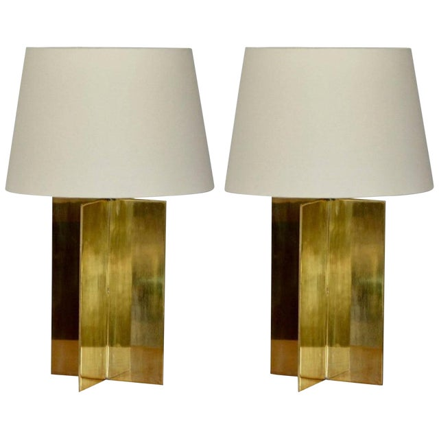 "Contemporary ""Croisillon"" Solid Brass and Parchment Lamps - a Pair For Sale"