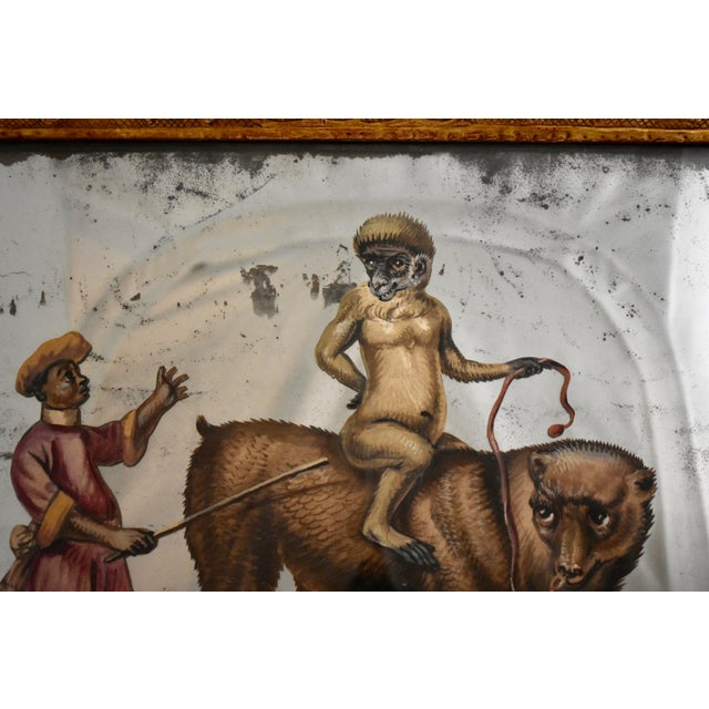 Mid 19th Century 19th C. French Exotic Hand-Painted Decoupage Mirror, Animal Trainer, Monkey & Bear For Sale - Image 5 of 13