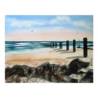 Serene Beach Original Watercolor Painting For Sale