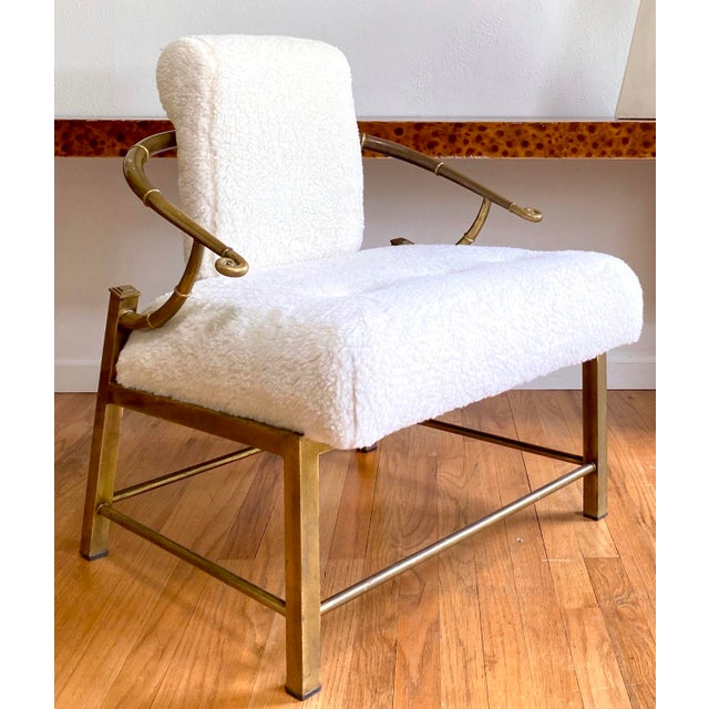 Vintage Mastercraft Brass Empress Lounge Chair in Faux Shearling For Sale - Image 10 of 10