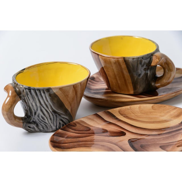 "French Vallauris Faux Bois ""Tete a Tete"" Coffee Set - Image 10 of 10"