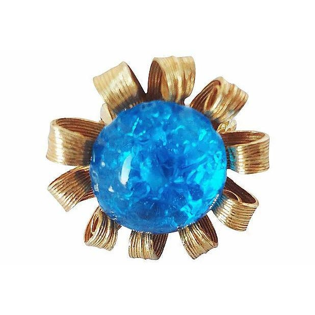 1980s 1980s Blue Cabochon Rhinestone Adjustable Ring For Sale - Image 5 of 8