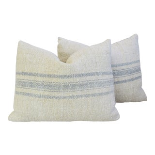 "French Blue-Gray Striped Grain-Sack Feather/Down Pillows 23"" X 18"" - Pair For Sale"
