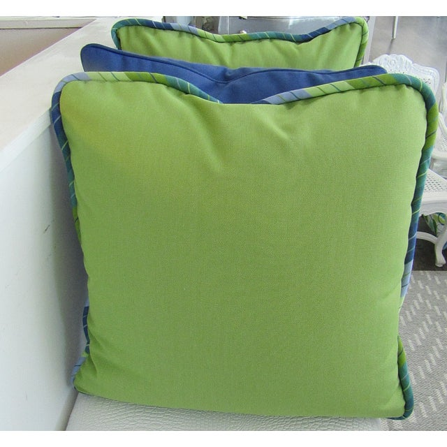 Set of 3 custom made pillows, two with solid colors (Lime and Periwinkle), reversible with print piping. The third pillow...