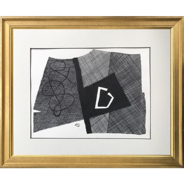 Vintage Roger Stokes Pen & Ink Abstract Drawing - Image 1 of 6