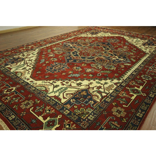 Heriz Oriental Hand Knotted Area Rug - 9'10 x 14' - Image 4 of 10