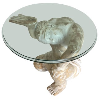 Striking Tony Duquette Style Carved Wood Kneeling Man Martini Table For Sale