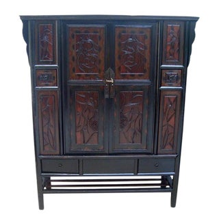 Antique Carved Panel Door Chinese Cabinet For Sale