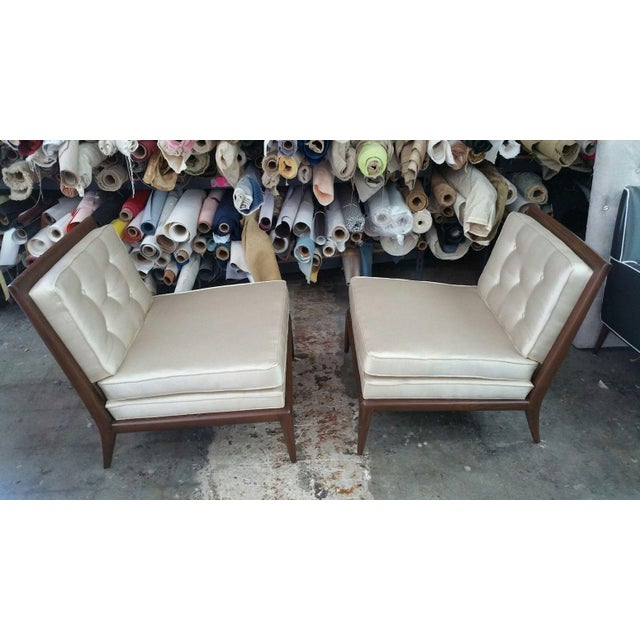 Amazing period mid century modern slipper chairs manner of Robsjohn Gibbings restored structurally sound and ready to go...