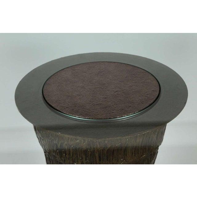 Gold Sculptural Brutalist Pedestal Style Table For Sale - Image 8 of 9