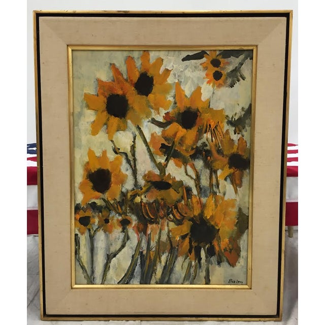 Vintage Original Elva Levy Framed & Signed Sunflower Painting For Sale - Image 4 of 11
