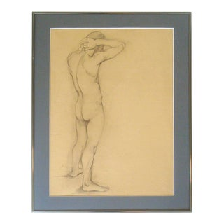 1910's Nude Portrait Male Charcoal Sketch Studio Drawing For Sale