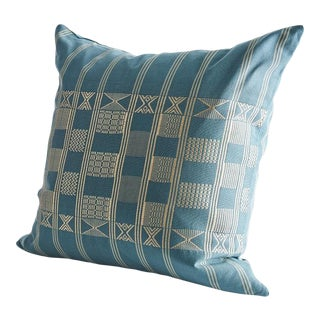 Handwoven Minna Pillow in Turaco Blue For Sale