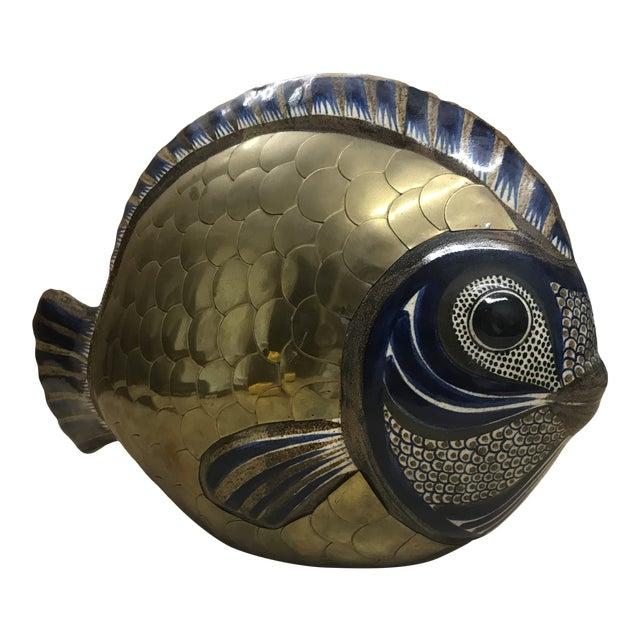 Vintage Tonala Brass and Ceramic Fish For Sale